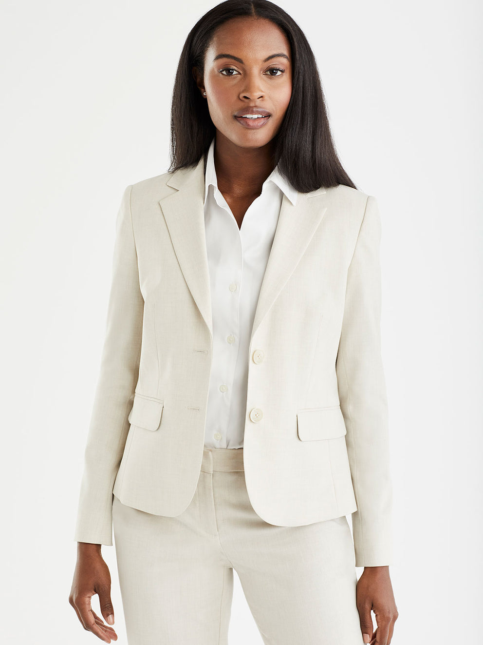 The Jones New York Washable Cropped Two-Button Jacket in color Stone - Image Position 1