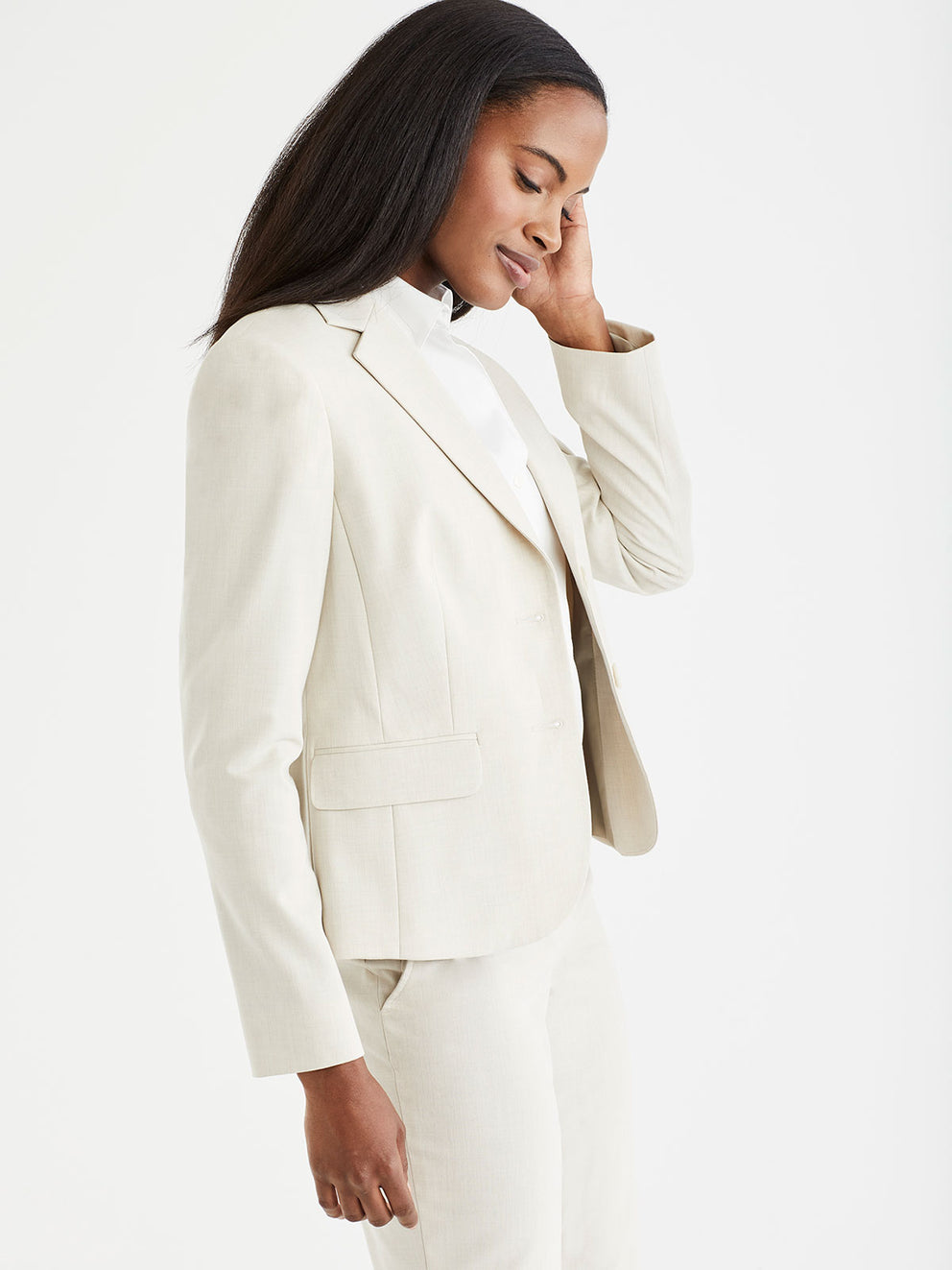 The Jones New York Washable Cropped Two-Button Jacket in color Stone - Image Position 2