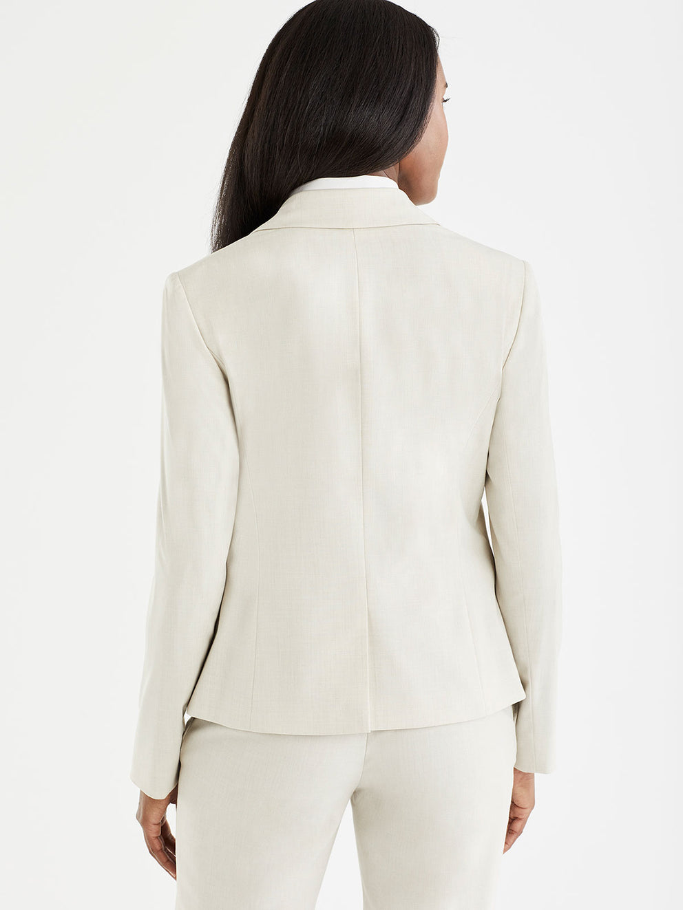 The Jones New York Washable Cropped Two-Button Jacket in color Stone - Image Position 3
