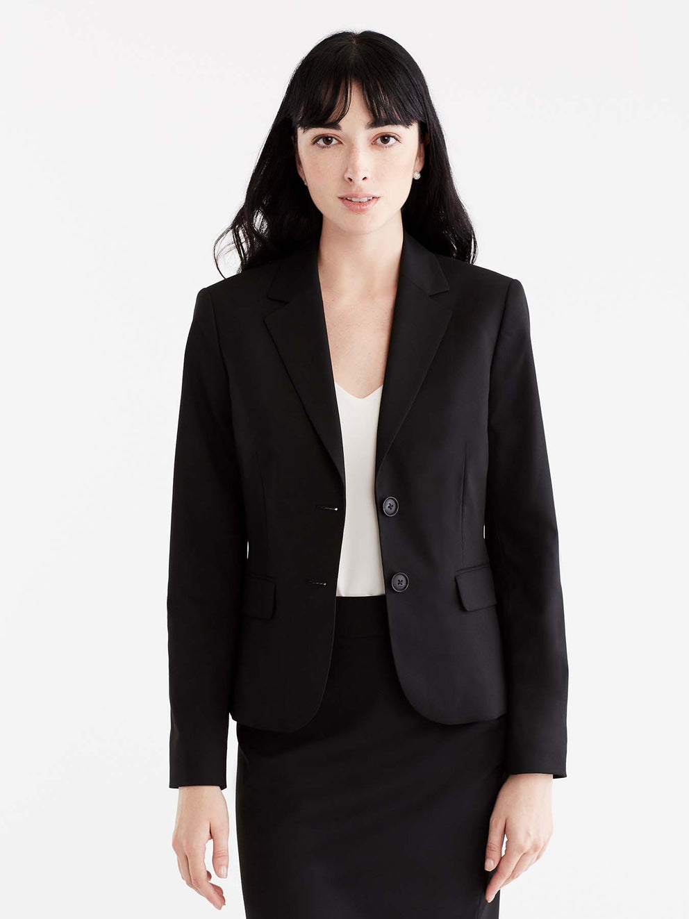 Washable Black Cropped Two-Button Jacket Color Black