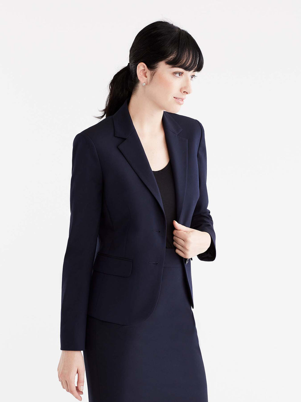 Washable Cropped Two-Button Jacket Color Navy