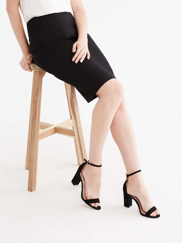 Black Washable Pencil Skirt Color Black