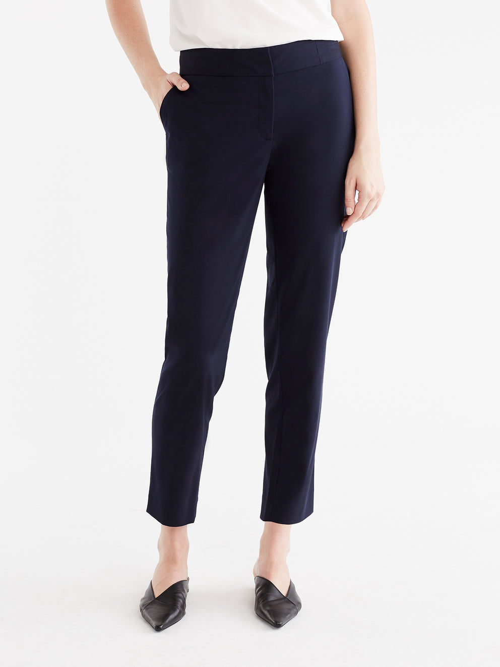 The Jones New York Washable Grace Ankle Pant in color Navy - Image Position 1
