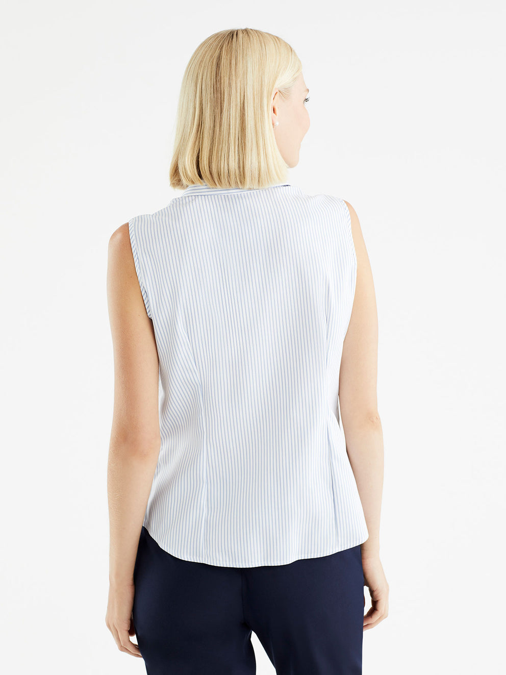 The Jones New York Non-Iron Sleeveless Shirt in color Classic Striped Blue - Image Position 3