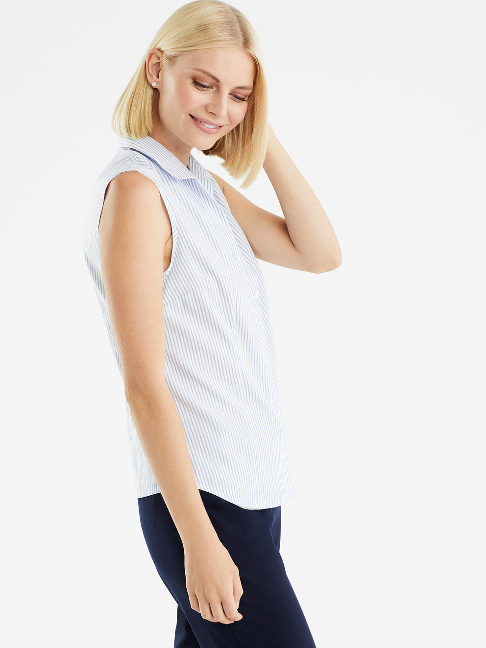 The Jones New York Non-Iron Sleeveless Shirt in color Classic Striped Blue - Image Position 2