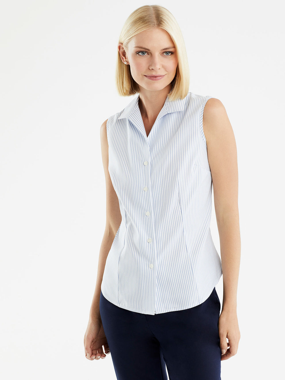 The Jones New York Non-Iron Sleeveless Shirt in color Classic Striped Blue - Image Position 1