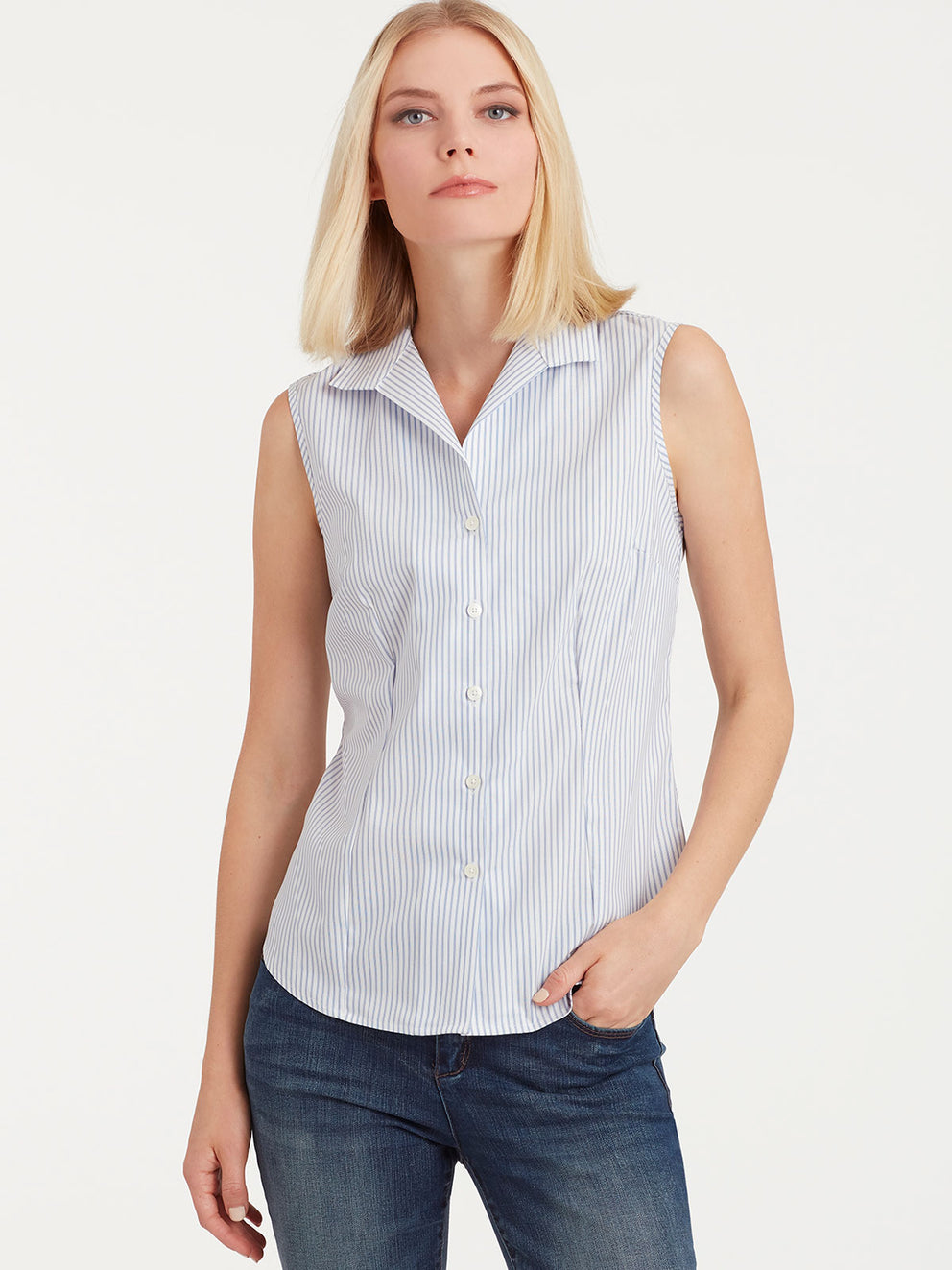 The Jones New York Striped Non-Iron Sleeveless Shirt in color Indigo Combo - Image Position 2