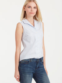 The Jones New York Striped Non-Iron Sleeveless Shirt in color Indigo Combo - Image Position 1