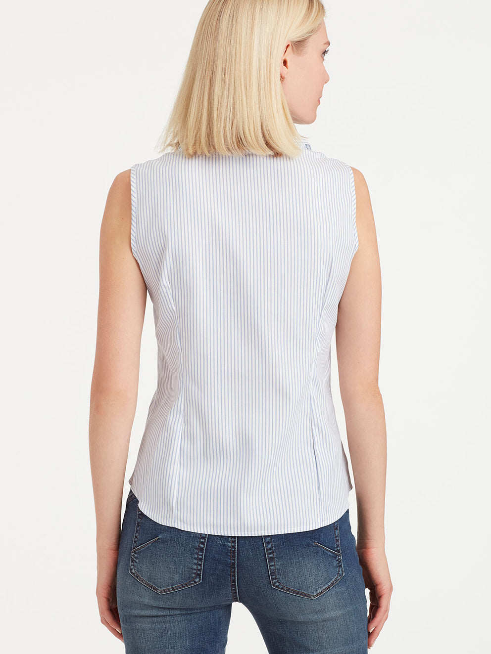 The Jones New York Striped Non-Iron Sleeveless Shirt in color Indigo Combo - Image Position 3
