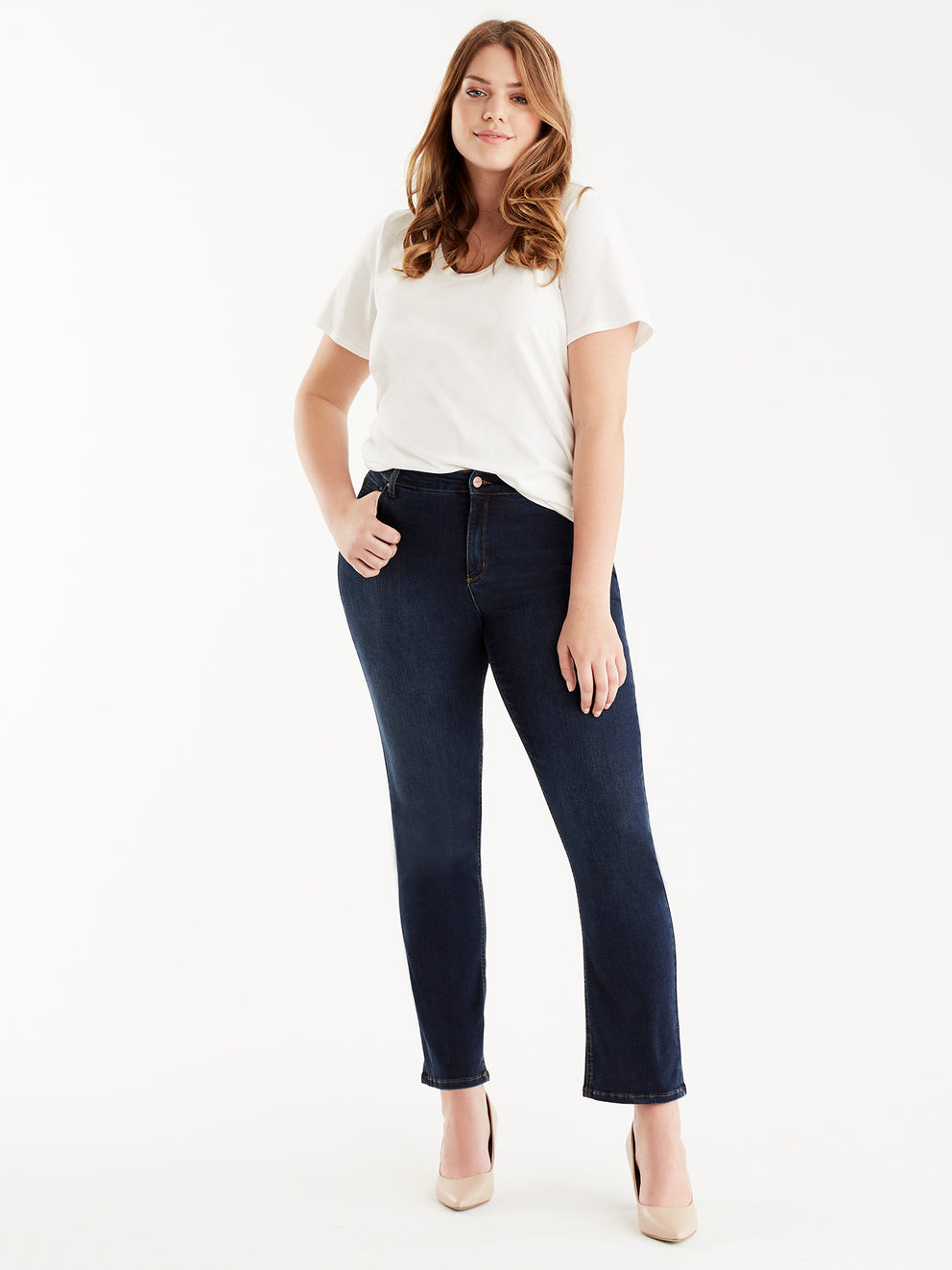 The Jones New York Lexington Indigo Wash Straight Leg Jeans, Plus Size in color Indigo Wash - Image Position 2