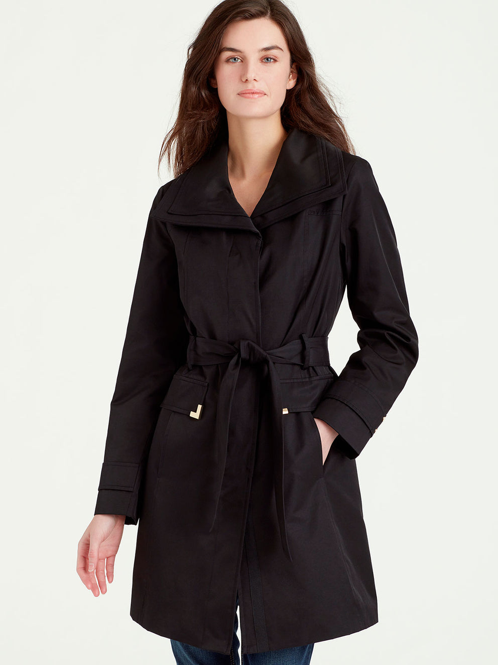 The Jones New York Double Collar Rain Trench in color Black - Image Position 2