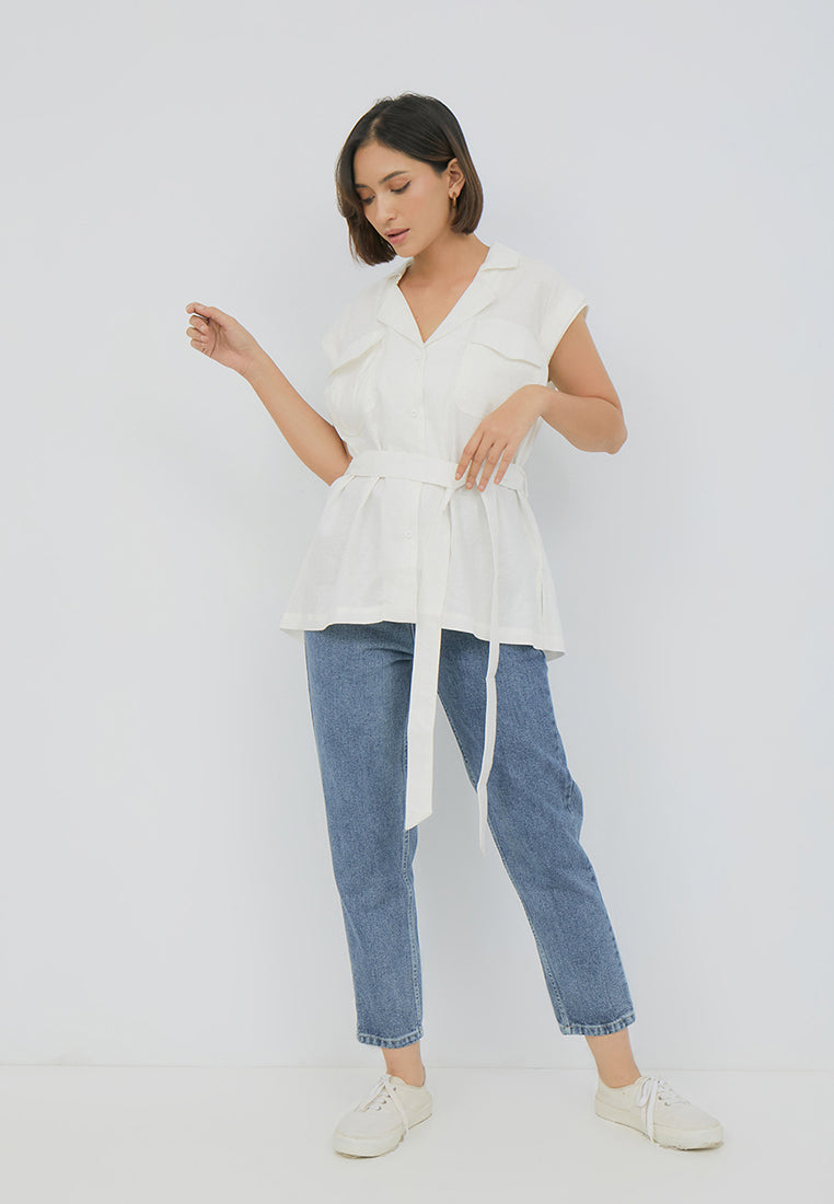 USAGI BLOUSE PLEATED LONG SLEEVES - WINE