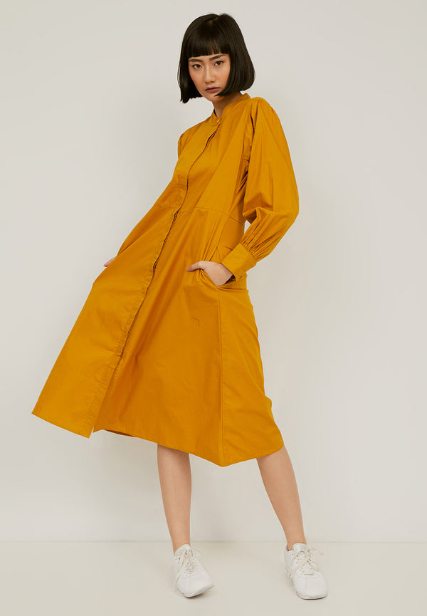 HIMAWARI Midi Dress - Yellow/Mustard