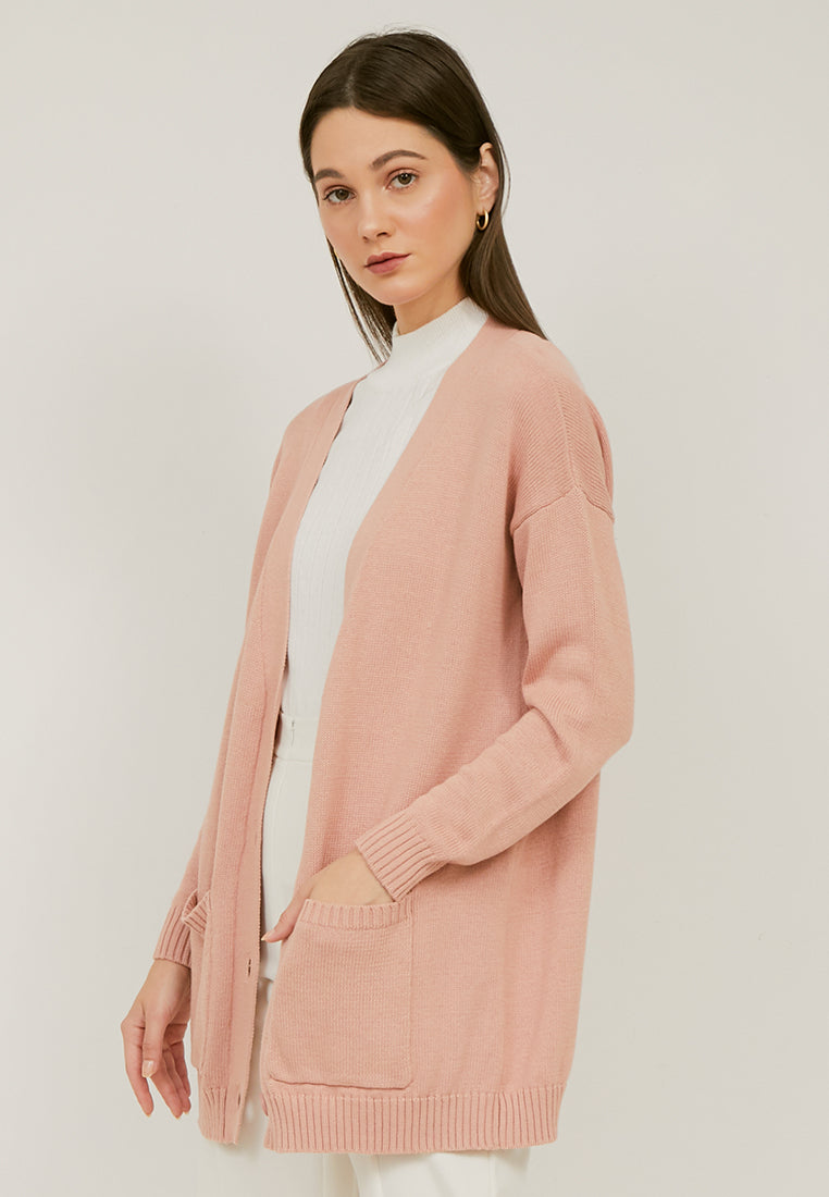 KIRA Basic Cardigan Knitted - Dusty Pink