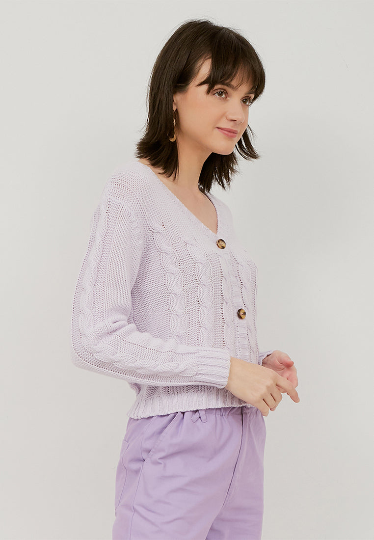 CHIYO Crop Cardigan Knitted - Baby Lilac