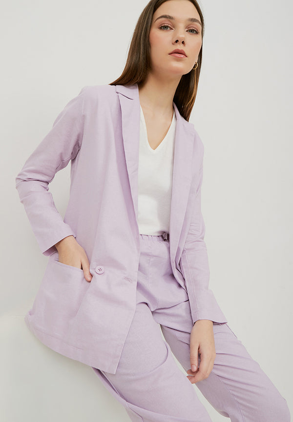 POPI Long Sleeve Blazer - Lilac