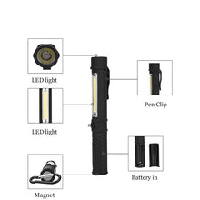 Load image into Gallery viewer, Multifunction COB LED Mini Pen Light Work Inspection LED Flashlight Torch Lamp With the Bottom Magnet and Clip Black/Red/Blue - Fresh Deals Shop