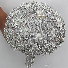 Load image into Gallery viewer, 2019 Luxurious Crystal Brooch Bouquet Ivory Gray Crystal Beading Bouquet Satin Wedding Flowers Bridal Bouquets Wedding Accessories