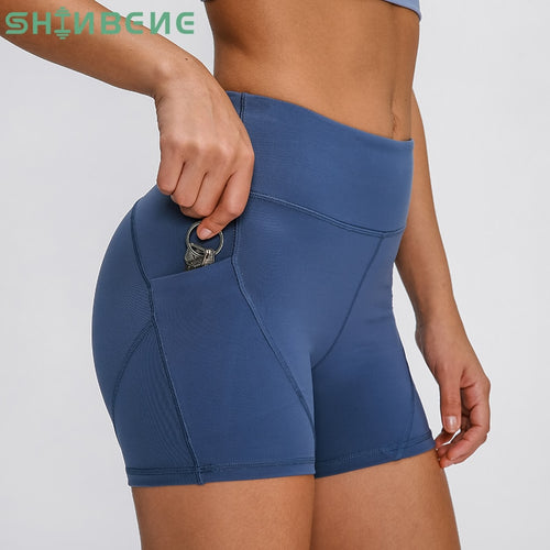SHINBENE Anti-sweat Plain Sport Athletic Shorts Women High Waisted Soft Cotton Feel Fitness Yoga Shorts with Two Side Pocket - Fresh Deals Shop