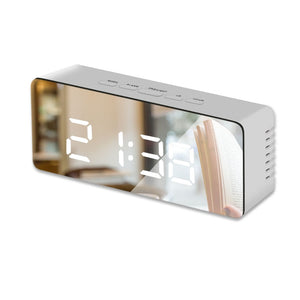 LED Mirror Alarm Clock Digital Snooze Table Clock