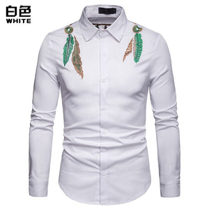 Fashion Leaf Embroidery Black Shirt Men 2019 Spring New Long Sleeve