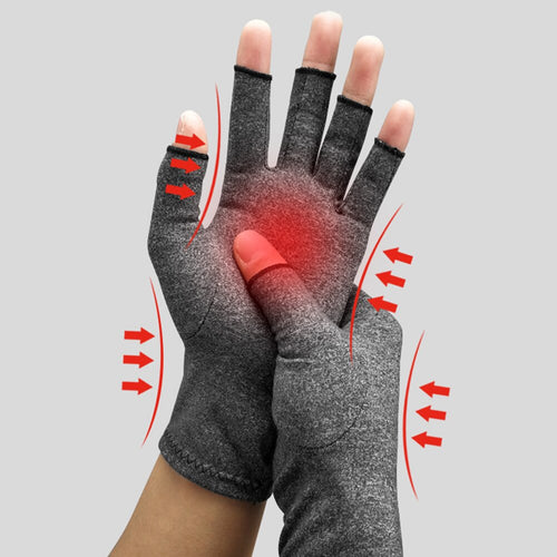 1Pair Health Care Joint Pain Lightweight Durable Therapy Compression Gloves Half-finger Hand Arthritis Unisex Wrist Support L303 - Fresh Deals Shop