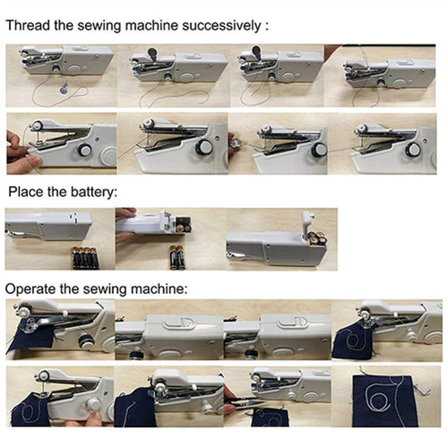Portable Mini Hand Sewing Machine Quick Handy Stitch Sew Needlework Cordless Clothes Fabrics Household Electric Sewing Machine - Fresh Deals Shop
