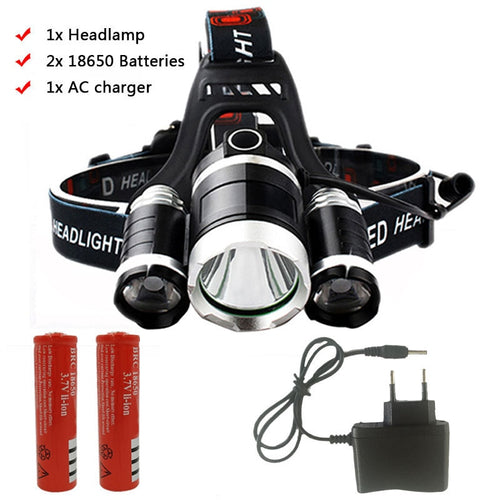 Z35T13 Headlight 4000 Lumen headlamp CREE XML3/5 LED T6 Head Lamp Flashlight Torch head light 18650 battery AC/DC charger option - Fresh Deals Shop
