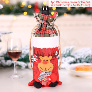 QIFU Santa Claus Wine Bottle Cover Merry Christmas Decorations