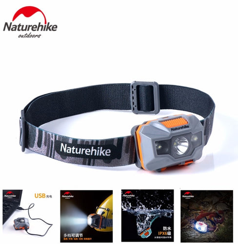 Naturehike Lightweight lithium battery usb charging head lamp highlight waterproof outdoor led night fishing head light headlamp - Fresh Deals Shop