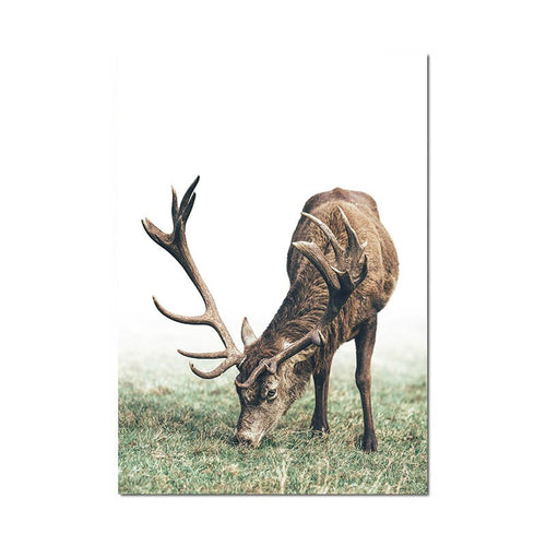 Scandinavian Poster Nordic Style Deer Wood Wall Art Canvas