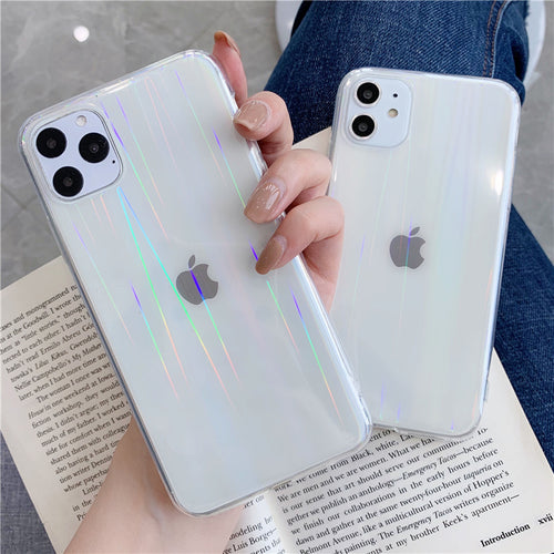 Luxury Gradient Rainbow Laser Case For iPhone X XR Xs Max 11 Pro Max Transparent Soft Bumper Acrylic Cover on iPheon 6S 7 8 Plus - Fresh Deals Shop