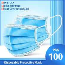 Load image into Gallery viewer, 100 Pcs Face Mouth Mask 3-Ply  Disposable Non-woven Masks Anti-Pollution filter safe Breathable Mask Protect Mascherine Mascara
