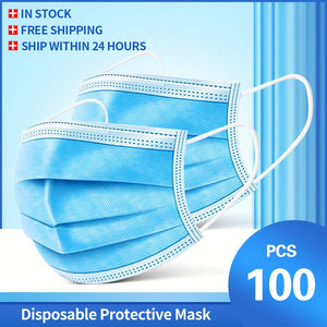 100 Pcs Face Mouth Mask 3-Ply  Disposable Non-woven Masks Anti-Pollution filter safe Breathable Mask Protect Mascherine Mascara