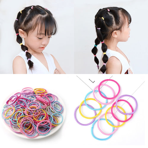 100pcs/lot 3CM Hair Accessories Girls Rubber bands Scrunchy Elastic Hair Bands kids baby Headband decorations ties Gum for hair