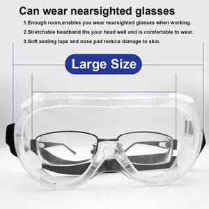 Safety Protective Goggles Glasses Transparent Lens Goggles Prevent Infection Eye Mask Anti-Fog Splash Goggles