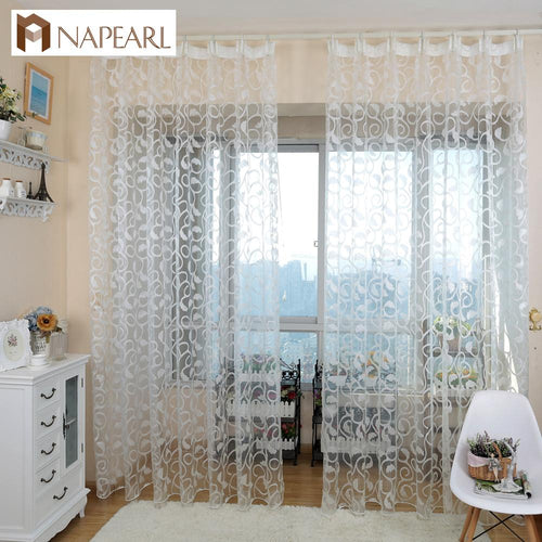 NAPEARL 1 PC American style jacquard floral design window curtain sheer for bedroom tulle fabric living room modern ready made