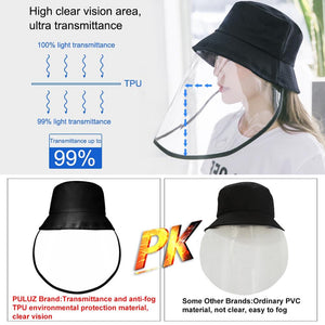 PULUZ Outdoor Protective cap & Anti-Saliva Splash Safety Face Shield Removable Full Face Mask Cover Hat