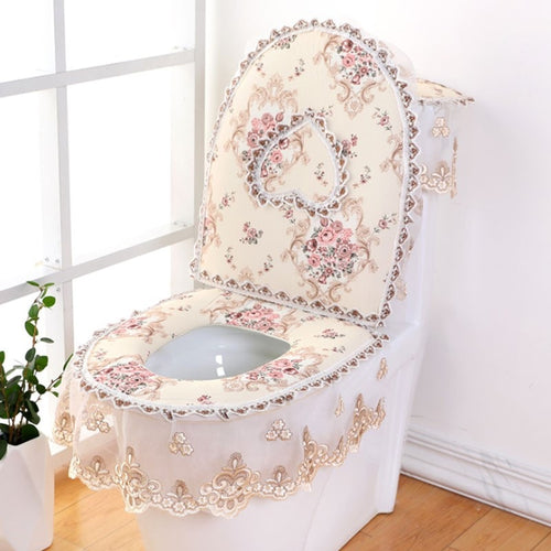3 pieces/set European Lace Toilet Seat Cushion Household Toilet Seat Zipper Seat Washer Winter U-shaped Toilet Seat