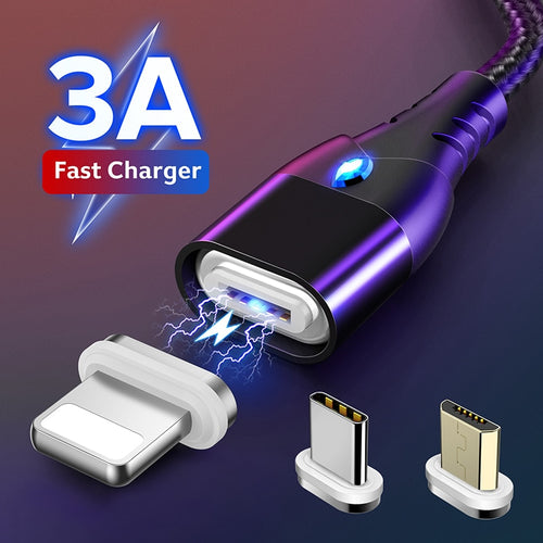 GETIHU 2m 3A Magnetic Phone Cable Quick Charge 3.0 Micro USB Type C Charger Magnet Fast Charging Data Cord For iPhone 11 XS Max