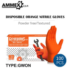 Load image into Gallery viewer, AMMEX Orange Thicken Work Glove Nitrile Disposable 50/100pcs Non-slip Protective Wear-Resistant Safety Industry Mechanical Boxed