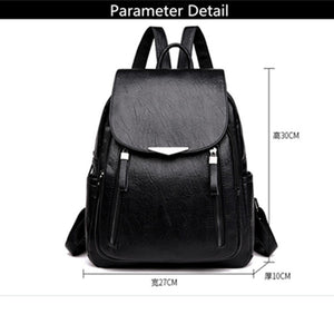 Women Backpack PU Female backpacks Vintage Leather School Bags Large Capacity School Bag for Girls Double Zipper Shoulder Bags