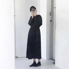 Load image into Gallery viewer, women dots print maxi dress pleated three quarter sleeve female casual straight dresses chic ankle length vestidos (Black One Size)