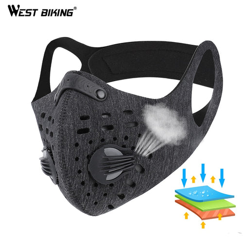 WEST BIKING Sport Face Mask With Filter Activated Carbon PM 2.5 Anti-Pollution Running Training MTB Road Bike Cycling Mask