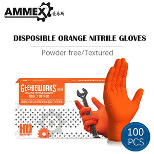 AMMEX Orange Thicken Work Glove Nitrile Disposable 50/100pcs Non-slip Protective Wear-Resistant Safety Industry Mechanical Boxed