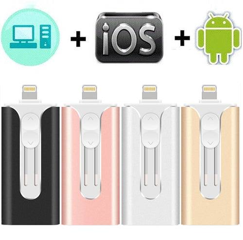 Usb flash drive for iOS/Android with usb Pendrive for iPhone 6 6S 6P 7 7S 7P 8 8P X XS XR 64G 128G 256G Otg flash disk usb 3.0