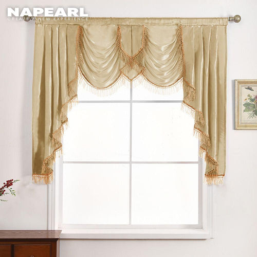 NAPEARL 1 Piece Luxury Valance Curtains Short Solid Color Drops For Bedroom European Style Semi Shade Elegant Panel Decor Rustic