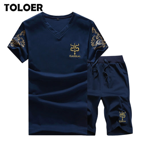 2020 Men T-shirt Casual Suits Summer Fitness Solid Top Tee Shirt+Shorts Set Mens V Collar New 2 Piece Short Tracksuit Breathable