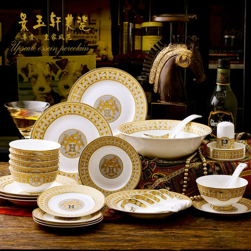 A European Tableware Disc Bone Porcelain Tableware Set Sample Room Hotel Pendulum Rice Bowls  Porcelain Rice Bowls Fish Platter