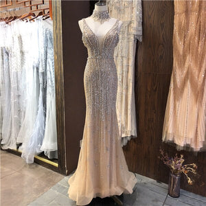 Dubai Champagne Pearls Diamond Evening Gowns Design 2020 V-Neck Sleeveless Sexy Evening Dresses Serene Hill DLA70055